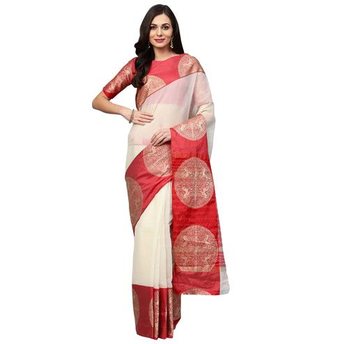 Refreshing White Colored Festive Wear Woven Art Silk Saree