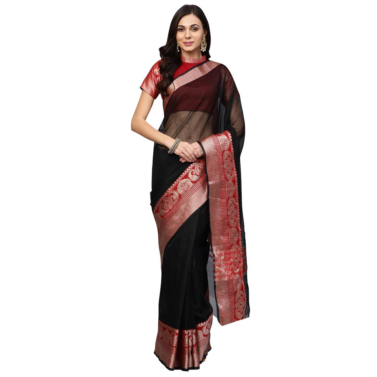 Elegant Black Colored Festive Wear Woven Art Silk Saree