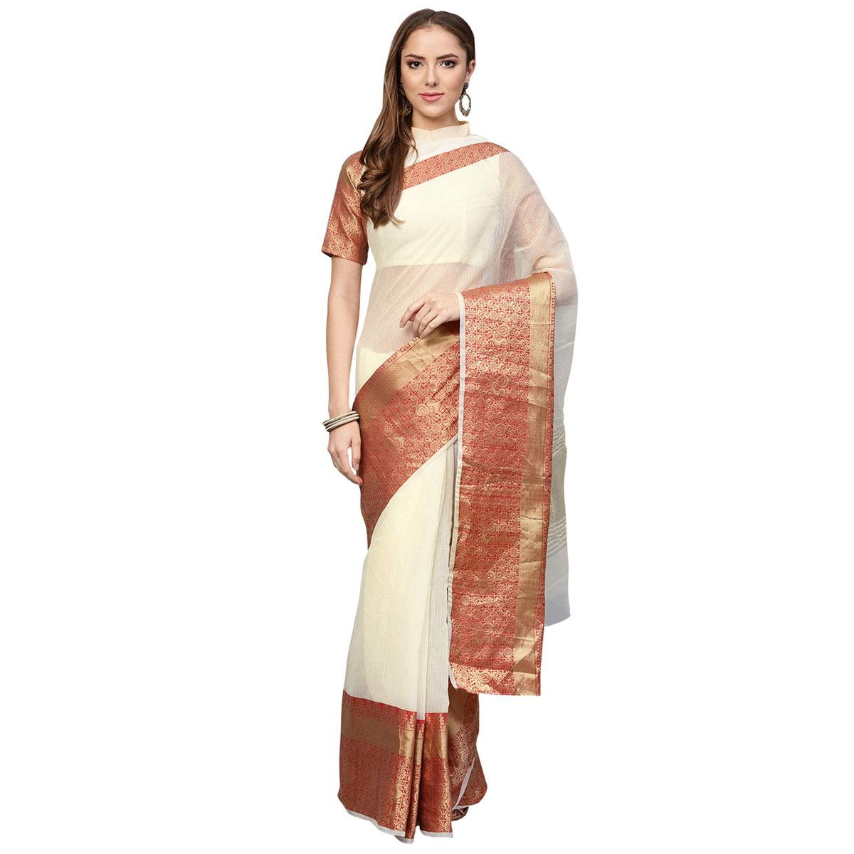 Alluring Cream Colored Festive Wear Woven Art Silk Saree