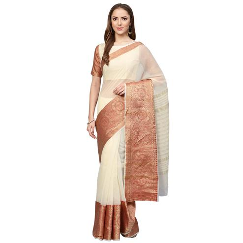 Radiant Cream Colored Festive Wear Woven Art Silk Saree
