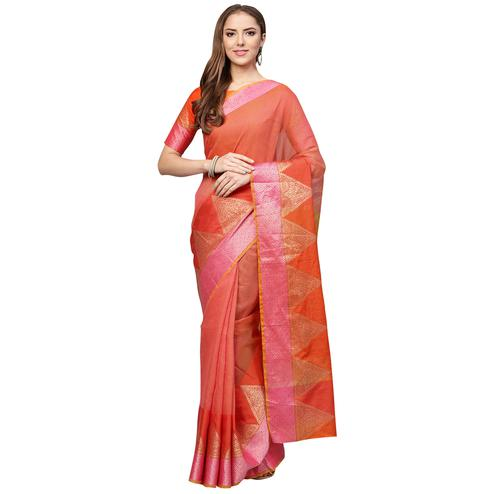 Sensational Peach Colored Festive Wear Woven Art Silk Saree