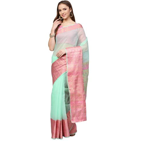 Opulent Aqua Green Colored Festive Wear Woven Art Silk Saree
