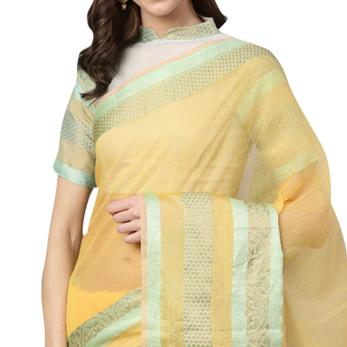 Dazzling Light Yellow Colored Festive Wear Woven Art Silk Saree