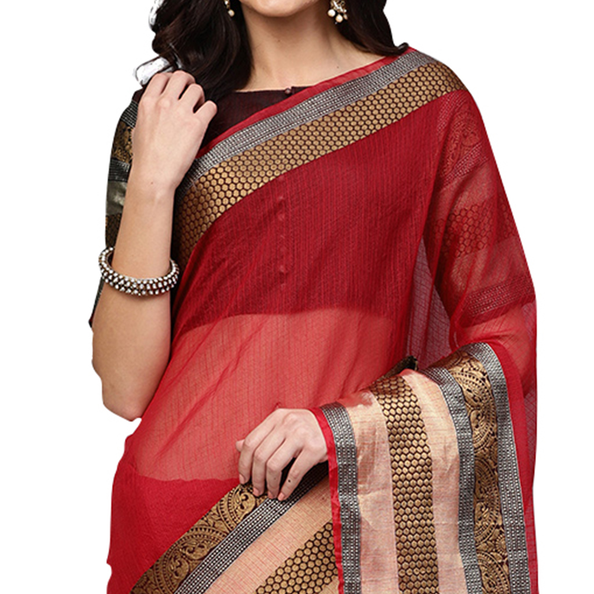 Flattering Red Colored Festive Wear Woven Art Silk Saree