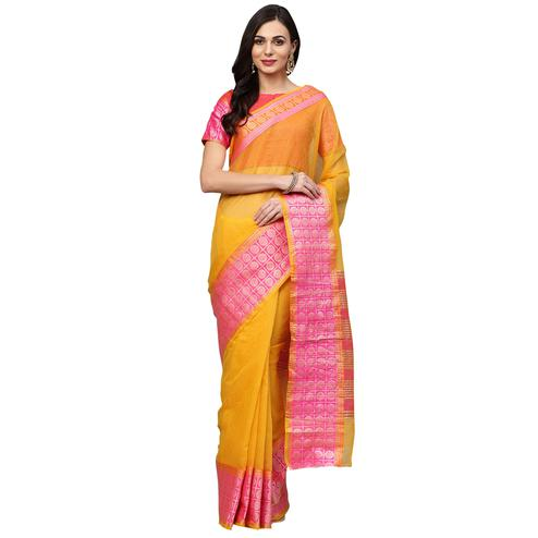 Breathtaking Yellow Colored Festive Wear Woven Art Silk Saree