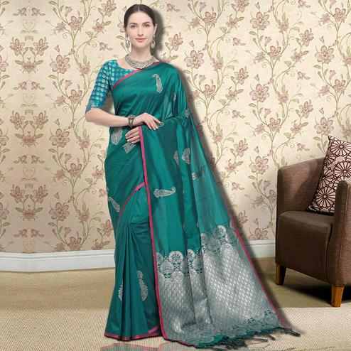 Appealing Teal Green Colored Festive Wear Printed Silk Saree
