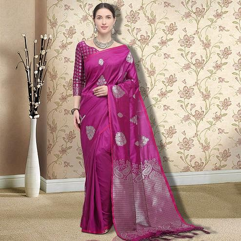 Groovy Magenta Pink Colored Festive Wear Printed Silk Saree