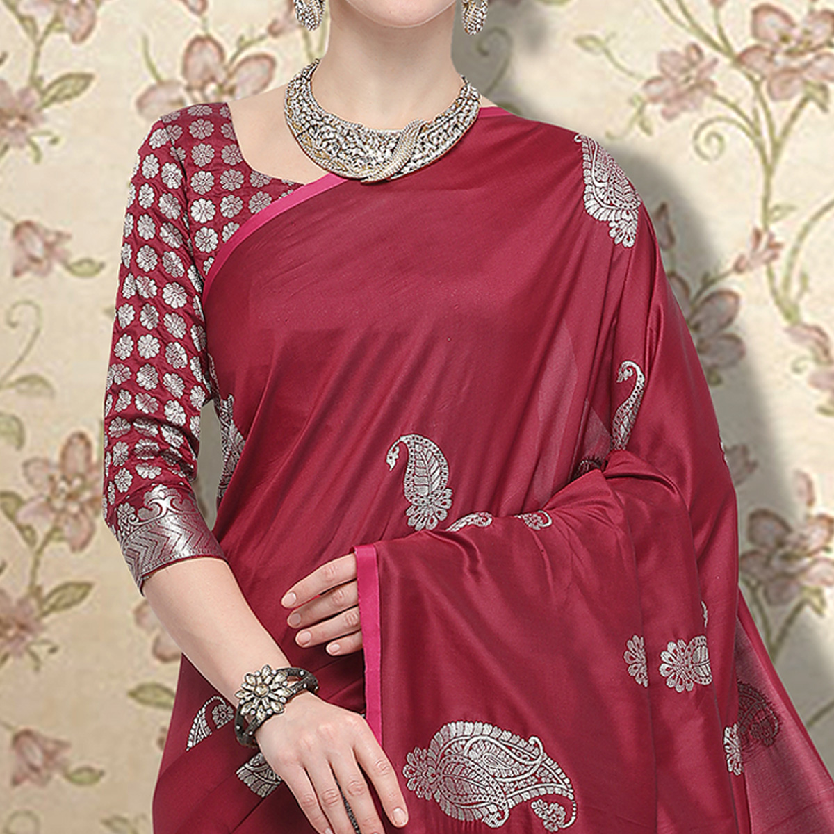 Prominent Maroon Colored Festive Wear Printed Silk Saree