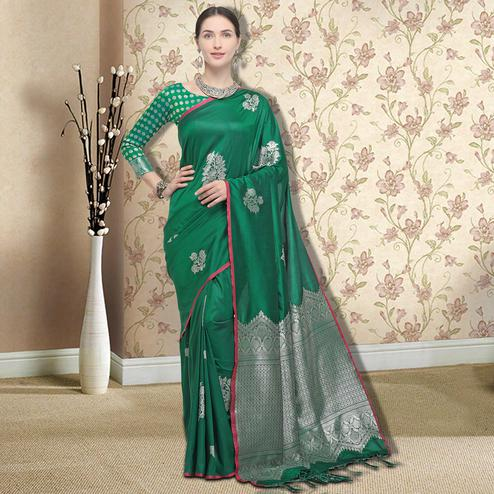 Capricious Green Colored Festive Wear Printed Silk Saree