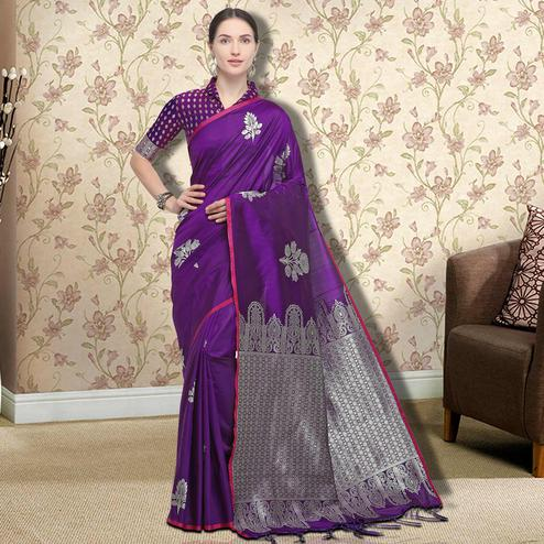 Adorning Purple Colored Festive Wear Printed Silk Saree