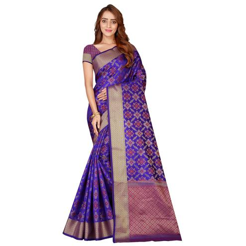 Intricate Violet Colored Festive Wear Printed Art Silk Saree