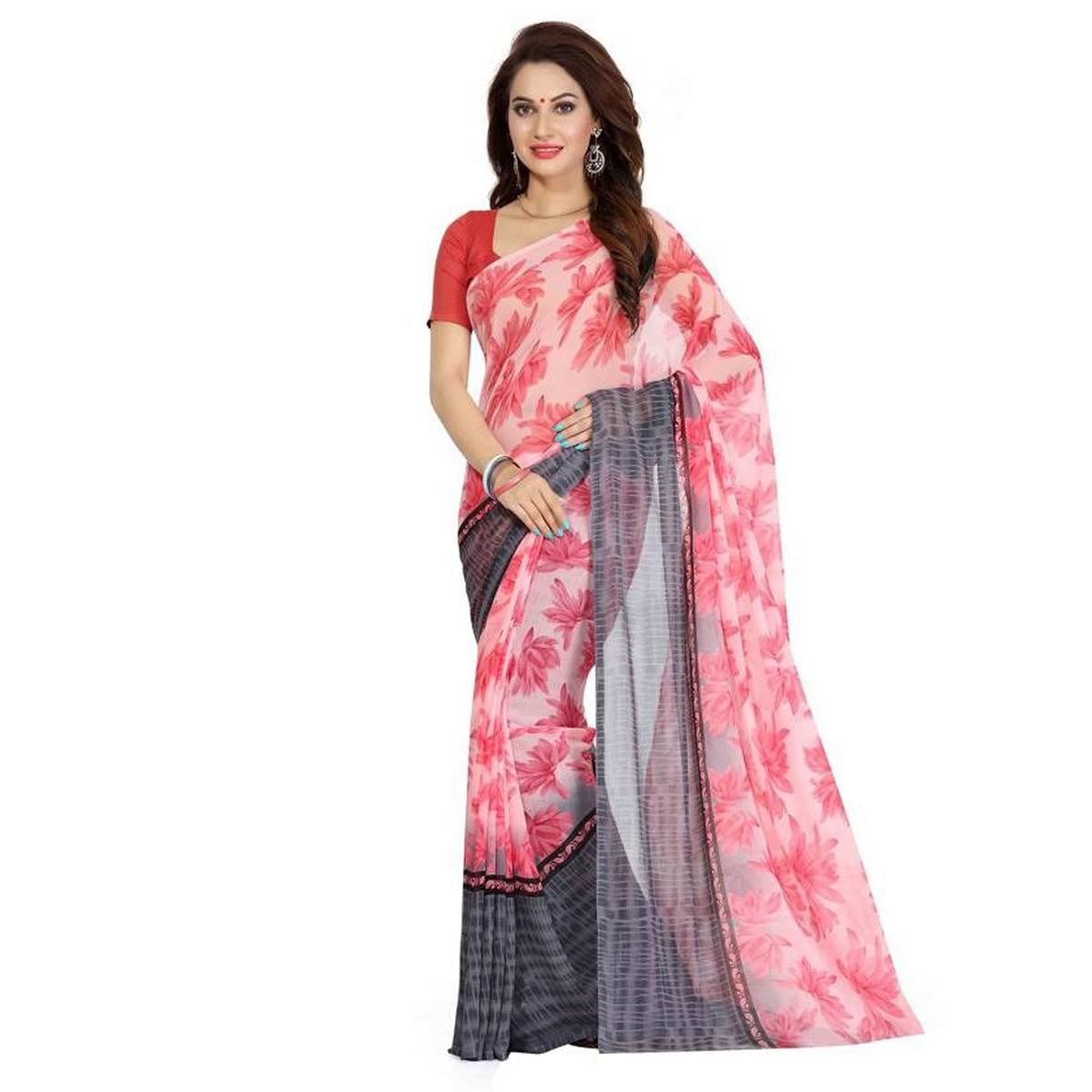 Pink - Grey Georgette Printed Saree
