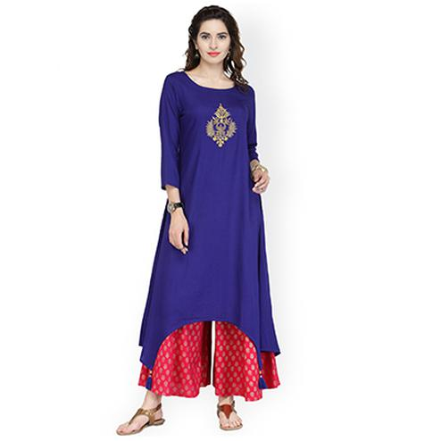 Royal Blue Printed Cotton Kurti