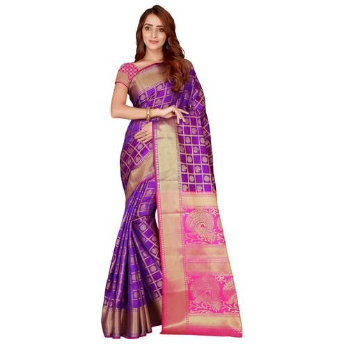 Pleasant Purple Colored Festive Wear Printed Art Silk Saree