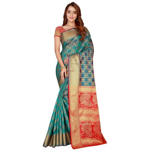 Unique Teal Green Colored Festive Wear Printed Art Silk Saree