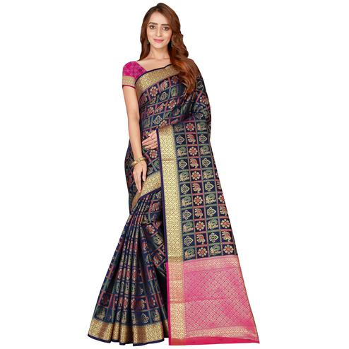 Alluring Navy Blue Colored Festive Wear Printed Art Silk Saree