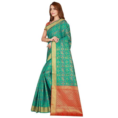 Radiant Turquoise Colored Festive Wear Printed Art Silk Saree