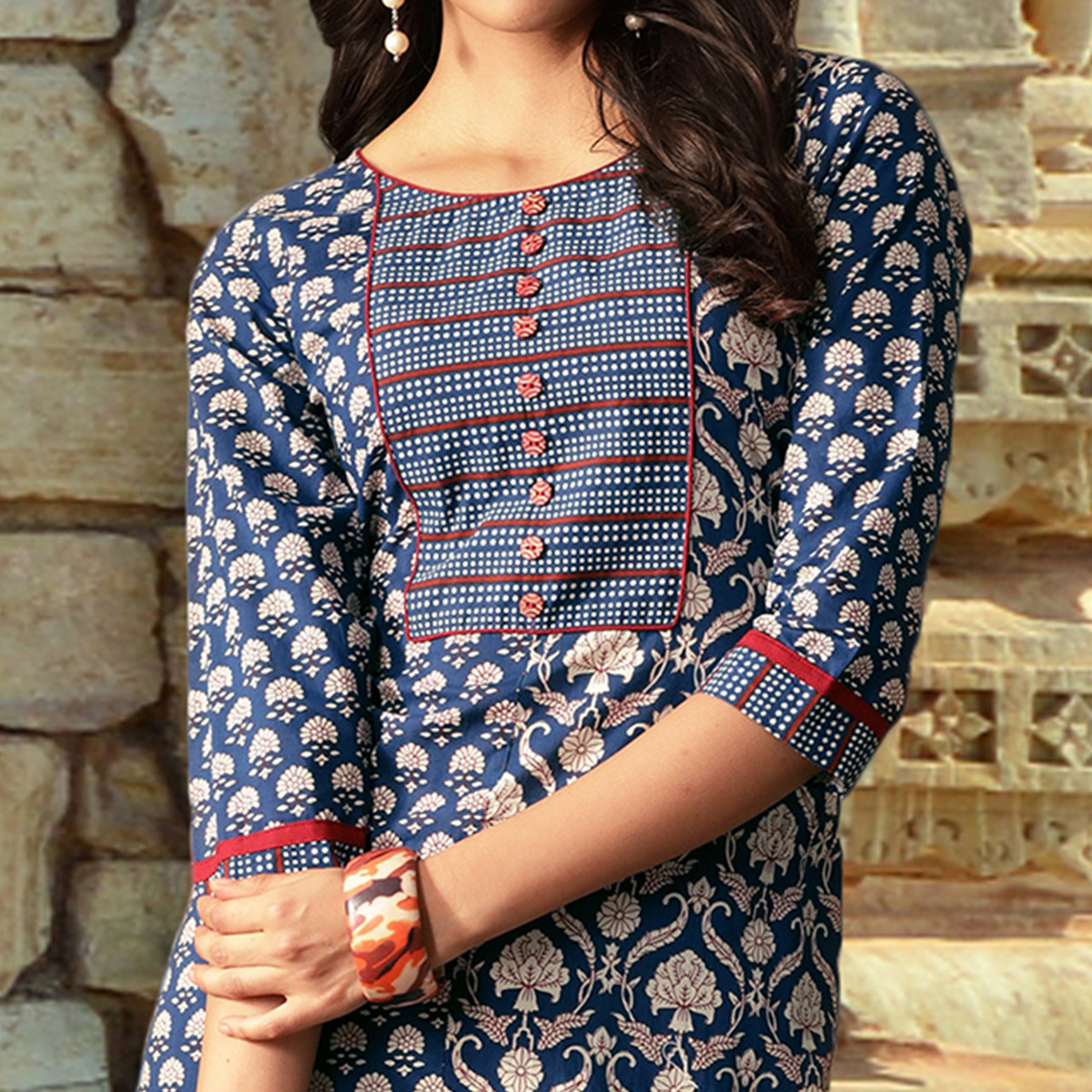 Beautiful Blue Colored Partywear Printed Cotton Kurti