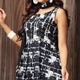 Black - White Colored Designer Partywear Printed Cotton Kurti