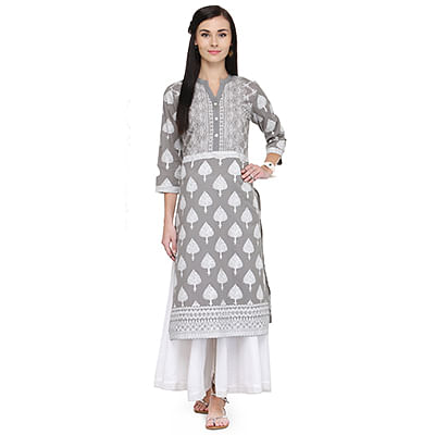 Graceful Gray Printed Rayon Kurti