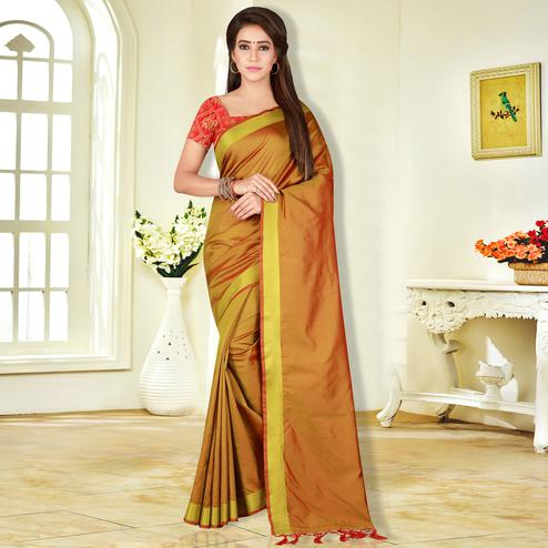 Beautiful Mustard Yellow Colored Festive Wear Banarasi Silk Saree