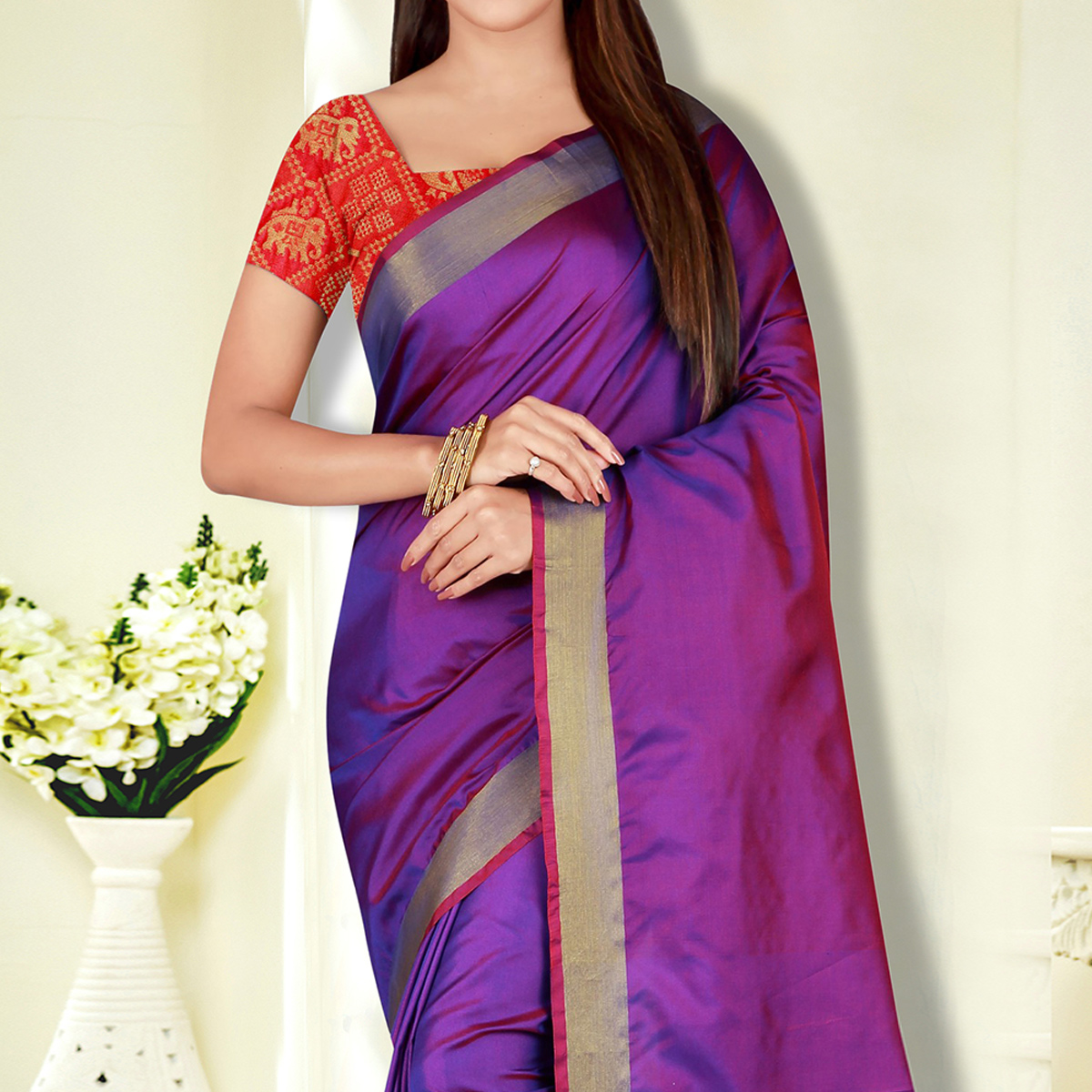 Classy Purple Colored Festive Wear Banarasi Silk Saree