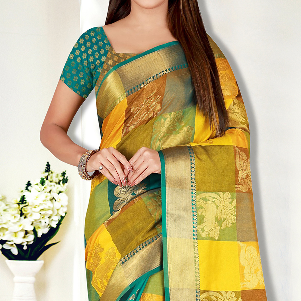 Attractive Multi Colored Festive Wear Woven Banarasi Silk Saree