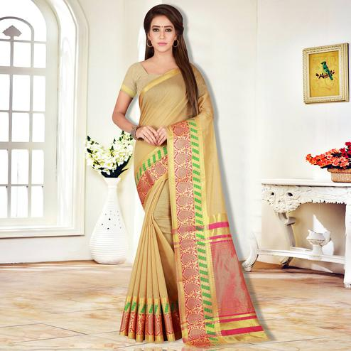Eye-Catching Beige Colored Festive Wear Pure Cotton Saree