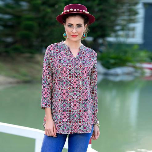 Lovely Multicolored Printed Georgette Kurti
