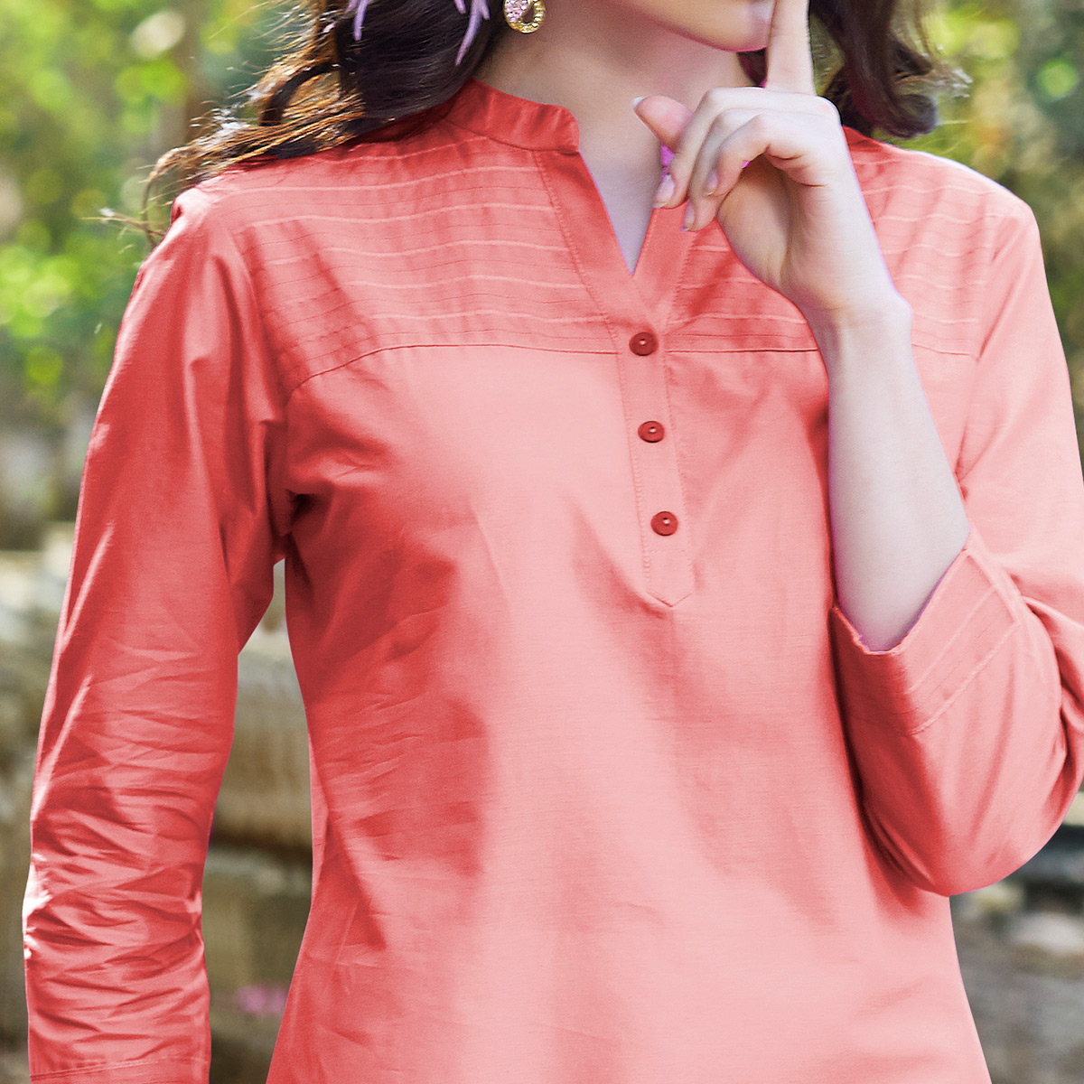 Opulent Peach Colored Cotton Kurti