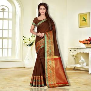 Impressive Brown Colored Festive Wear Pure Cotton Saree