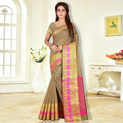 Appealing Beige Colored Festive Wear Pure Cotton Saree