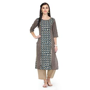 Magnificent Brown Printed Cotton Kurti