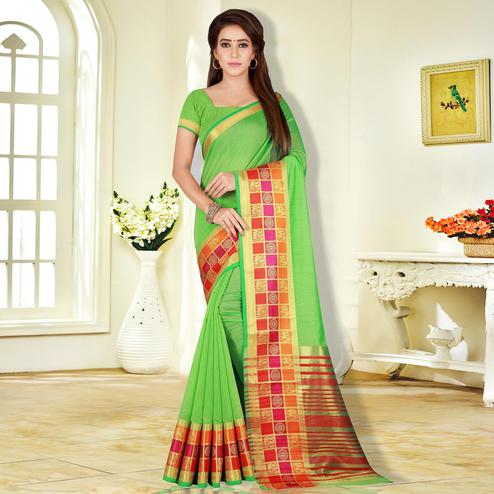 Demanding Green Colored Festive Wear Pure Cotton Saree