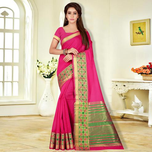Refreshing Magenta Pink Colored Festive Wear Pure Cotton Saree