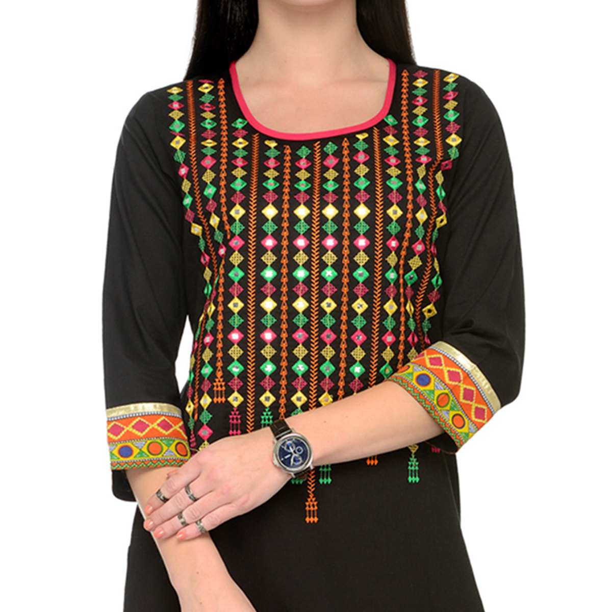 Majestic Black Printed Cotton Kurti