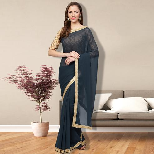 Attractive Gray Colored Partywear Georgette Saree