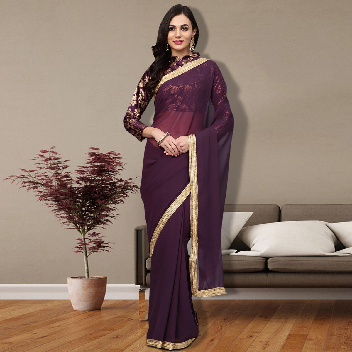 Gleaming Purple Colored Partywear Georgette Saree