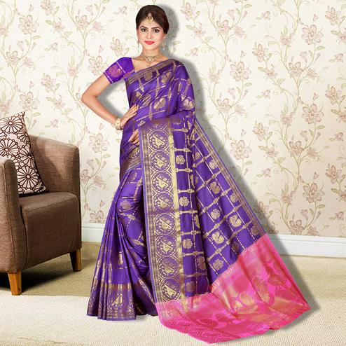 Appealing Purple Colored Festive Wear Printed Banarasi Silk Saree