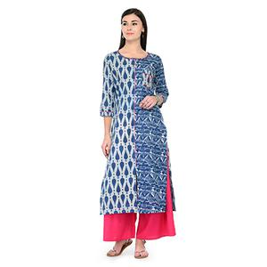 Cool Blue Printed Cotton Kurti