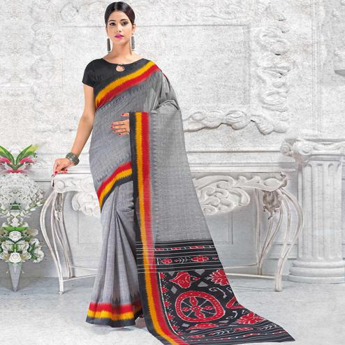 Intricate Grey Colored Casual Wear Printed Bhagalpuri Silk Saree