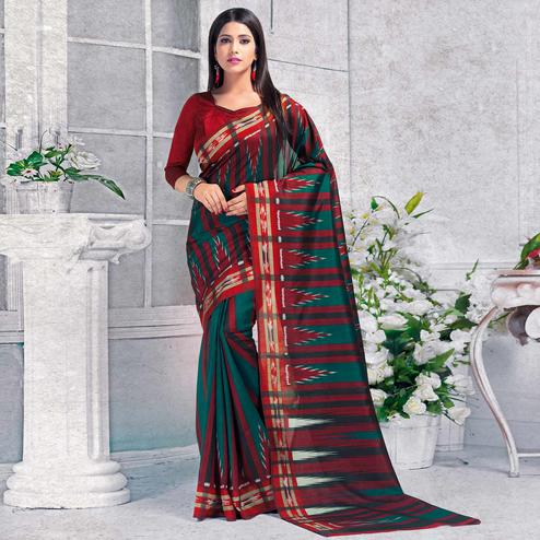 Desirable Teal Green - Red Colored Casual Wear Printed Bhagalpuri Silk Saree