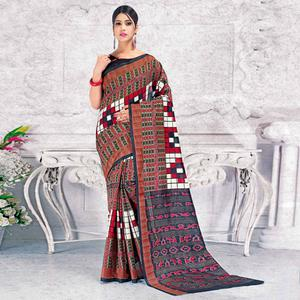 Sophisticated Multi Colored Casual Wear Printed Bhagalpuri Silk Saree