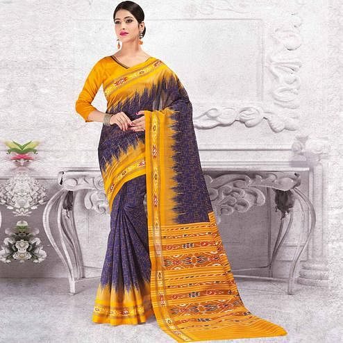 Demanding Navy Blue - Yellow Colored Casual Wear Printed Bhagalpuri Silk Saree