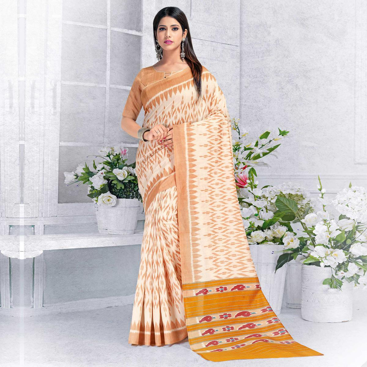 Unique Off White Colored Casual Wear Printed Bhagalpuri Silk Saree