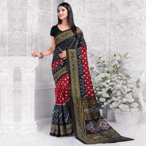 Refreshing Black - Red Colored Casual Wear Printed Bhagalpuri Silk Saree