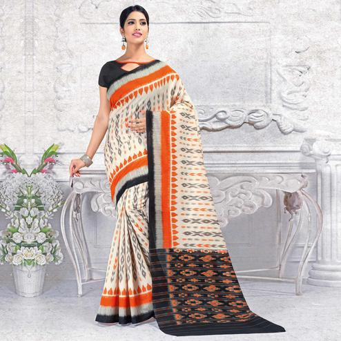 Elegant Off White Colored Casual Wear Printed Bhagalpuri Silk Saree