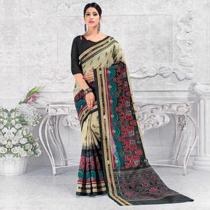 Alluring Cream - Black Colored Casual Wear Printed Bhagalpuri Silk Saree