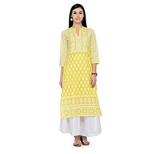 Lovely Yellow Printed Rayon Kurti
