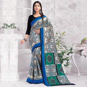 Radiant Grey Colored Casual Wear Printed Bhagalpuri Silk Saree